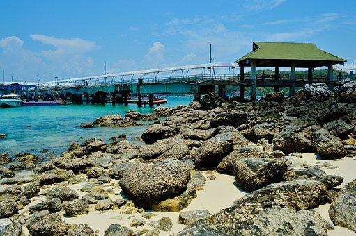 Pierce, Beach, Thailand, Resort, Stones, Sand, Pier