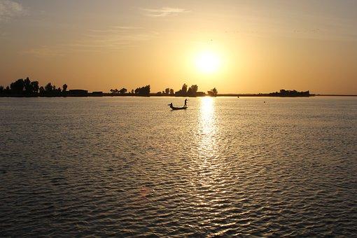 Sunset, Africa, Fisherman, Sea, Boat, Water, Fishing