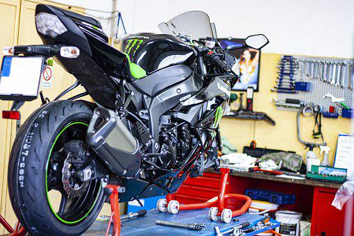 Motorcycle, Fix, Exchange, Round, Tire, Biker, Service