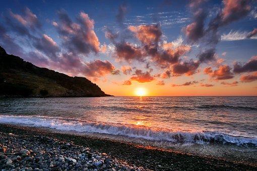Sunset, Sea, Sky, Water, Dusk, Evening, Landscape
