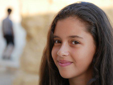 Egyptian Girl, Class, Teenager, Pretty, Youth, Smiling