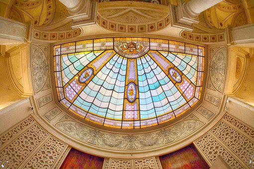 Architecture, Ceiling, Stained Glass Window