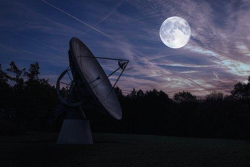 Moon, Radio Telescope, Astronomy, Night, Evening Sky