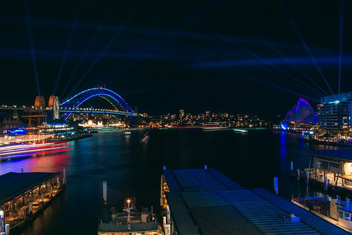Sydney, Cahill Expressway, Night, Circular Quay