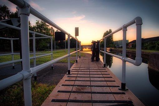Calder Navigation, Castleford, Canal, Lock, Sunrise