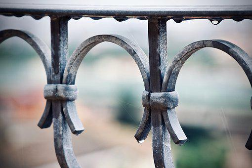 Railing, Metal, Wrought Iron, Drops, Rain, Construction
