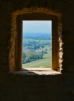 Window, Landscape, Distant View, Masonry, Green