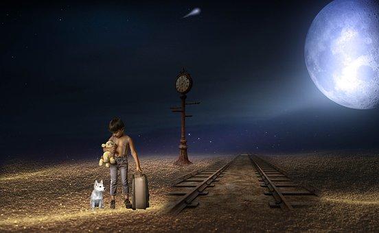 Fantasy, Night, Boy, Alone, Moon, Rail Track, Luggage