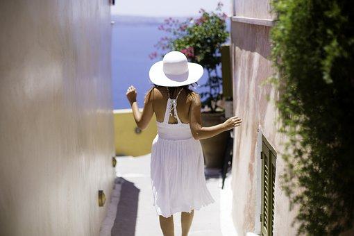 Santorini, Hat, White, People, Ola, Greece, Girl