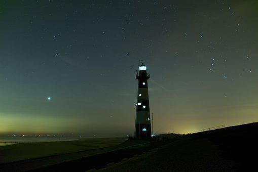 Lighthouse, Breskens, Sea, Netherlands, Beach