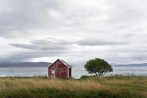 Norway, Sky, Clouds, Tree, Hat, Barn, Nature, Landscape
