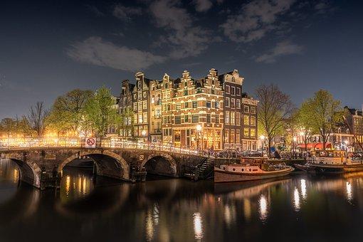 Amsterdam, Bridge, Netherlands, Holland, Channel, City