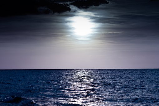 Night Sea, Moon, Sea, Ocean, Cool, Dark, Blue