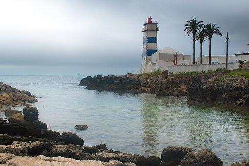 Lighthouse, Ocean, Cloudy, Sea, Coast, Seascape