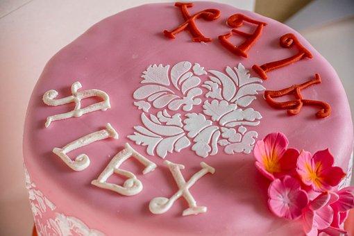 Pink, Cake, Fondant, Birthday, Birthday Cake