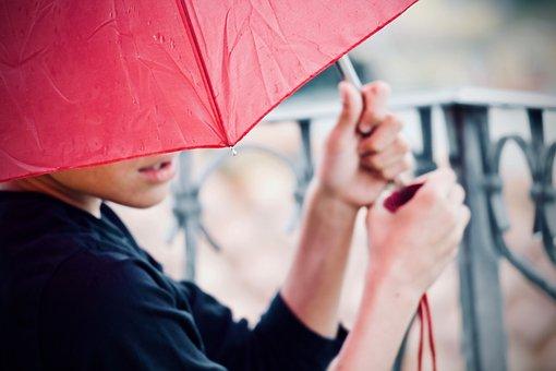 Rain, Profile, Hands, Lips, Guy, Fingers, Umbrella
