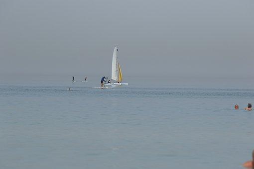 Sea, Boat, Surfer, Water, Horizon, Heat Wave