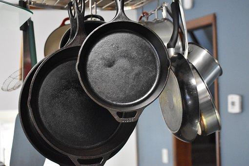Cast Iron, Kitchen, Pan, Breakfast, Pots, Skillet, Food