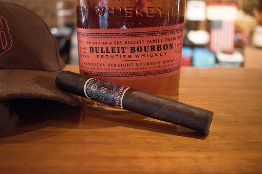 Cigar, Bourbon, Drink, Bar, Smoke, Refreshment, Liquor