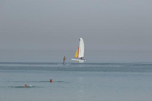 Sea, Boat, Water, Surfer, Horizon, Heat Wave