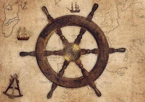 Vintage, Helm, Sextant, Sailing Ships, Map, Anchor