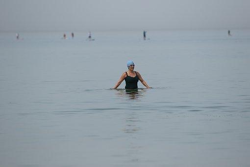 Woman, Beach, Bathing, Horizon, Heat Wave