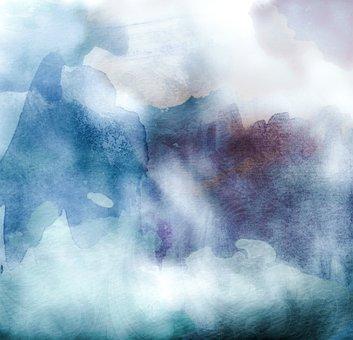 Watercolors, Teal, Blue, Background, Dark, Art, Color
