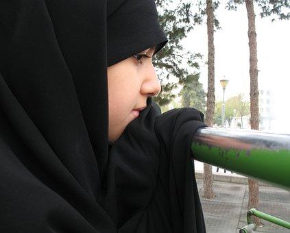 Girl, Park, Sport, Black, Veil, Muslim, Iran