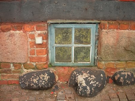 Old Merchant's House, Detail, Basement Window, Blue