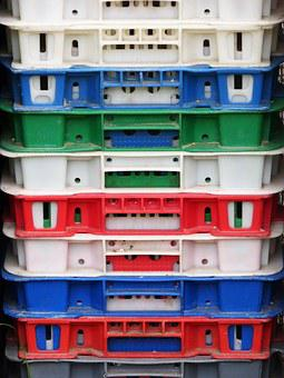 Boxes, Stack, Heap, Plastic, Colors, Packaging