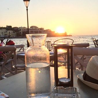 Crete, Sea, Seaside, Coast, Sunset, Sun, Sunny, Water
