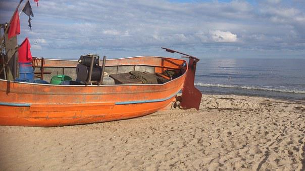 Cutter, Boat, Sea, Beach, Ship, Hawser, The Baltic Sea