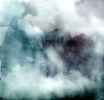 Watercolors, Teal, Blue, Gray, Background, Dark, Art