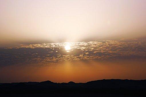 Egypt, Aswan, Desert, Morning, Sun, Ancient