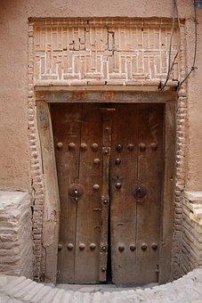 Door, Yazd, Desert City, Dřevěnné Doors, Mud House