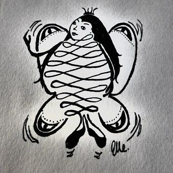 Hand Drawn Sketch, Butterfly, Fee, Woman, Queen, Animal