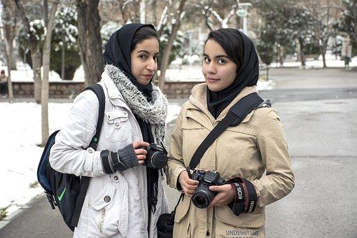 Mashhad, Girls, Mellat Park, Winter, Iran, Cameras