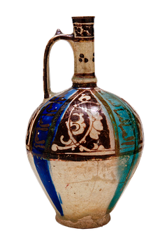 Antique, Bottle With Handle, Iran, 12th Century