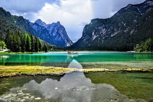 Lake Dobbiaco, Wallpapers, Background, Landscape