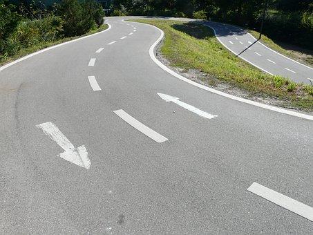 Road, Lane, Traces, Road Markings, Return, Turn, Loop