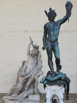 Loggia Dei Lanzit, Heroes, Medusa's Head, Statue