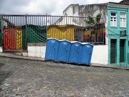 Toilet, Toilet Cabin, Loo, Public, Blue, Askew