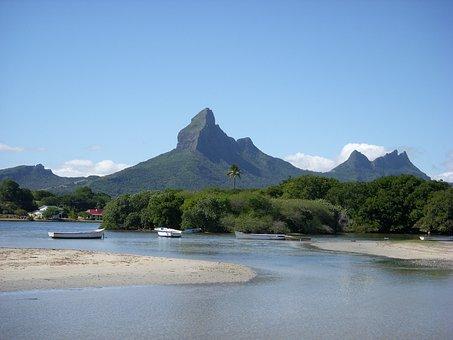 Mauritius, Beach, Blue, Sky, Sea, Holiday, Mountain