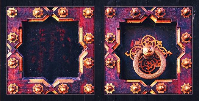 Door, Knocker, Om, Aum, Handle, Metal, Antique, Old