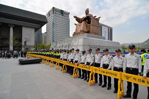 Seoul, Korea Police Line, Riot Police, Protest