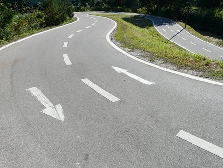 Road, Lane, Traces, Road Markings, Return, Turn, Loop