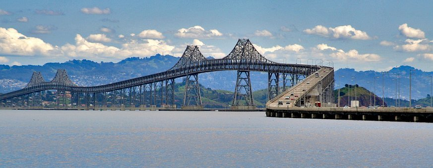 San Rafael Bridge, Clouds, Cars, Bay, San Francisco Bay