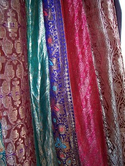 Sari, Fabric, Drapes, Curtain, Curtains, Shimmer