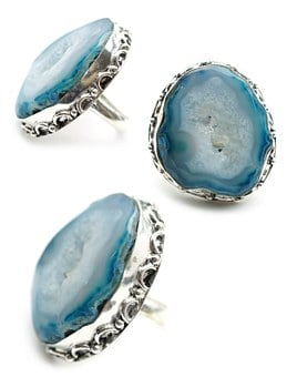 Blue, Drusy, Stone, Ring, Display, Silver, Sterling