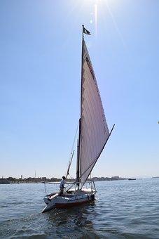 Sun, Nile, Felucca, Egypt, River, Boat, Sky, Summer
